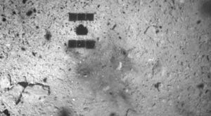 mysterious dark spot photographed near probes asteroid landing site