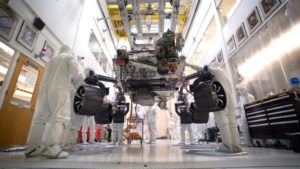 mars 2020 rover stands on its own wheels as it readies for mission