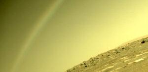 rainbow captured in mars rover photo
