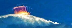 unusual light formation filmed above cloud