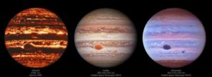 Hubble space telescope captures Jupiter in different wavelengths